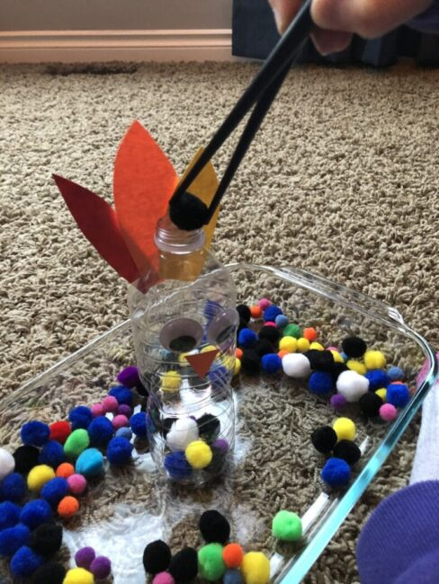 Work on fine motor skills with a simple Thanksgiving game for kids
