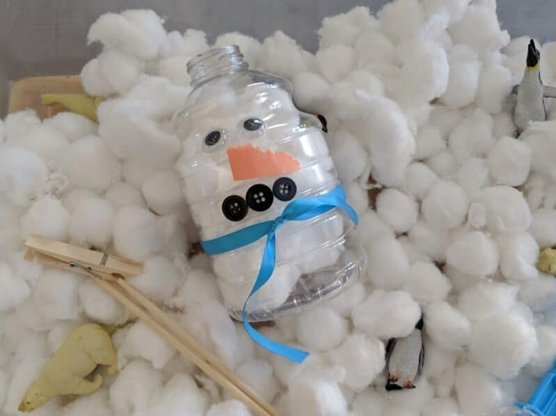 "Fill the snowman with cotton ball ""snow"" for creative imaginative play."