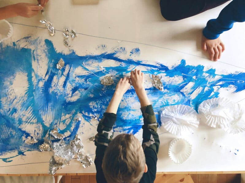 Create a cool scene or abstract image with a winter big art painting project for all ages and stages!