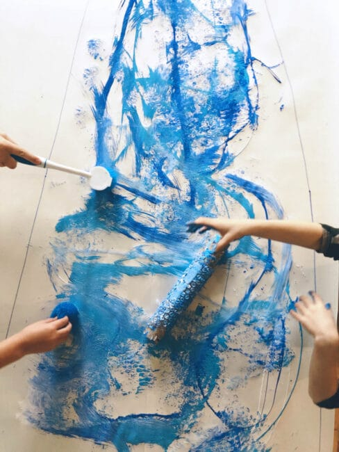 Kids can create this winter big art painting project together!