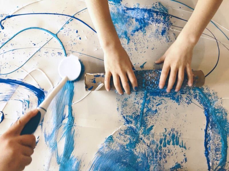 Roll and scrub to your make winter big art painting project super sensory!