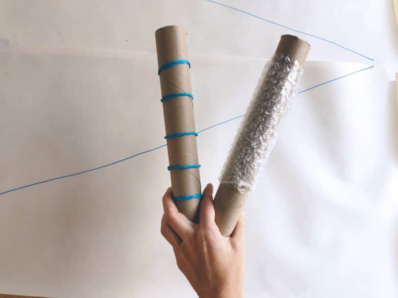 Make your own. paint rollers for your creative winter big art project!
