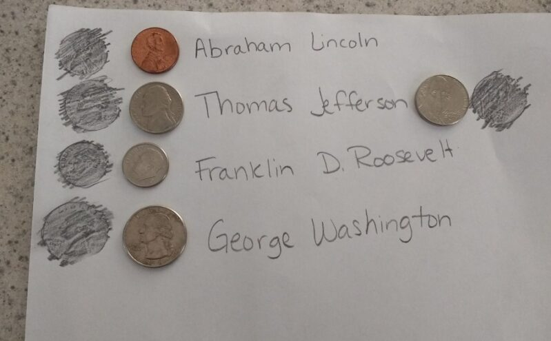 Talk about presidents and history with a fun President's coin experiment!