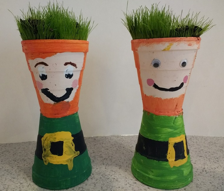 Cute and easy leprechaun hair craft to grow spring plants for St. Patrick's Day!