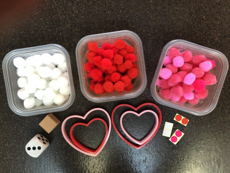 Play a fun heart-themed game to work on counting and matching colors!