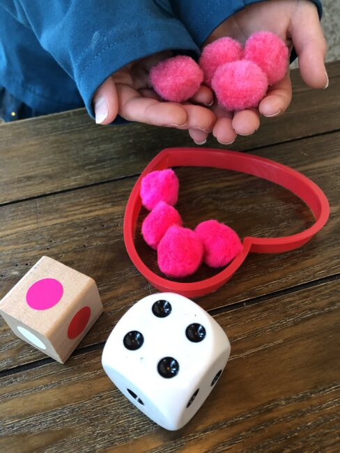 Play this simple and fun Valentine's game for kids to work on counting and colors.