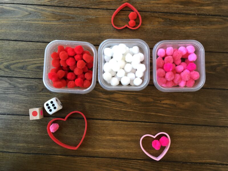 Setting up for this easy Valentine's Day activity for kids is super fast!