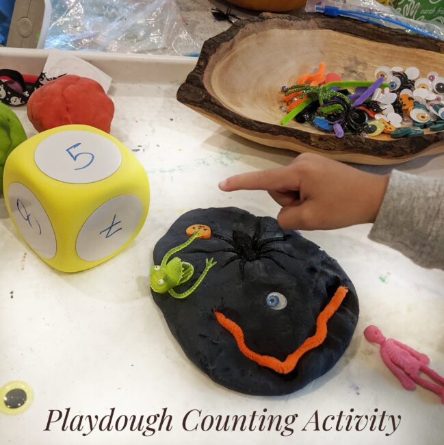 Grab your crafting supplies to make a creative play dough monster with your children!