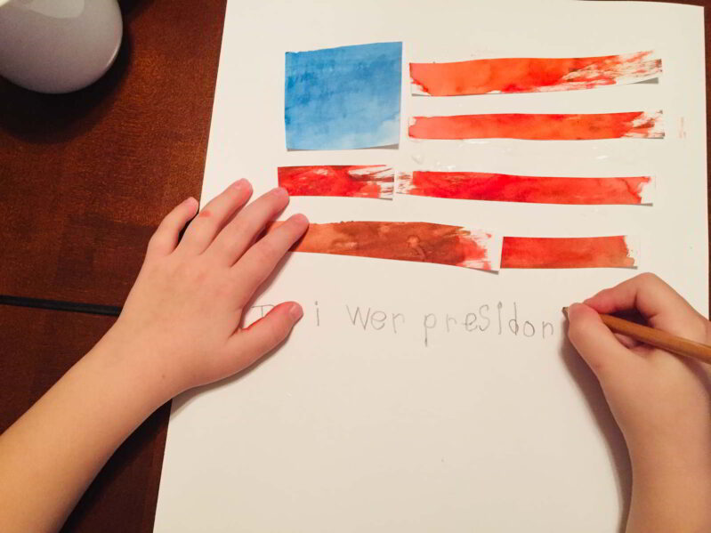 Add a little writing challenge to this simple patriotic preschool activity!