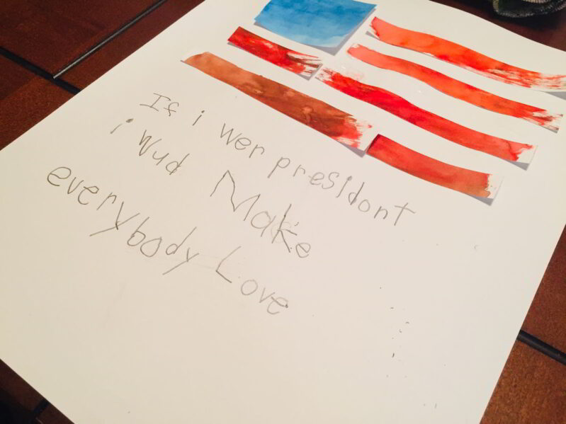We loved this simple and patriotic President's Day preschool art and writing activity!