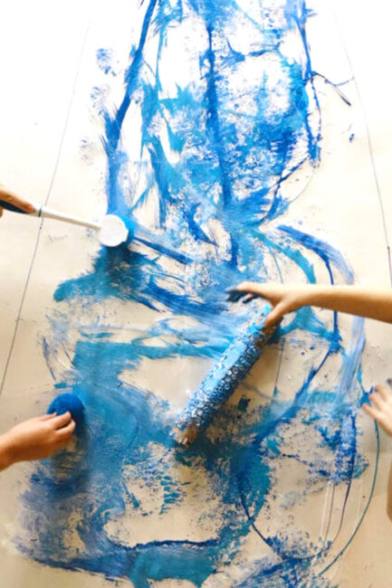 What will you create for your winter big art painting project for all ages? We love this creative art activity!
