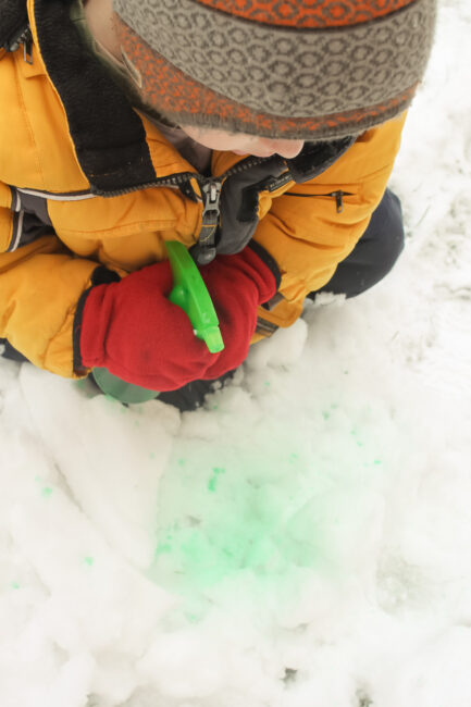 Squirt, spray and drip colorful water onto clean white snow for a fun outside winter activity!
