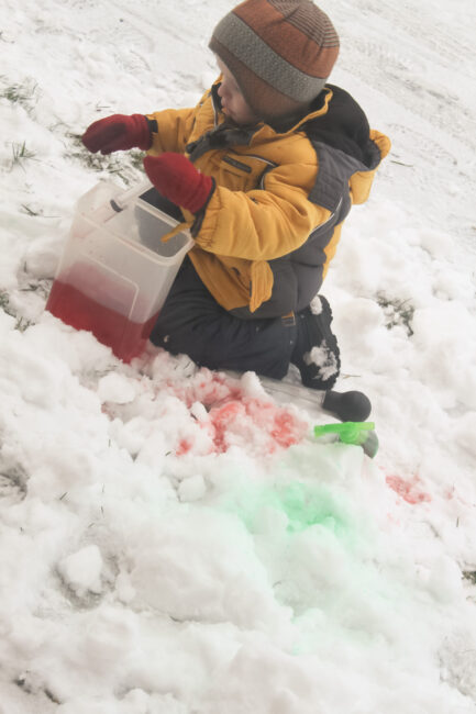 My boys loved this fun coloring snow outside winter activity!