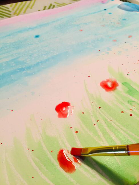 Splatter painting is a fun watercolor painting for kids to do