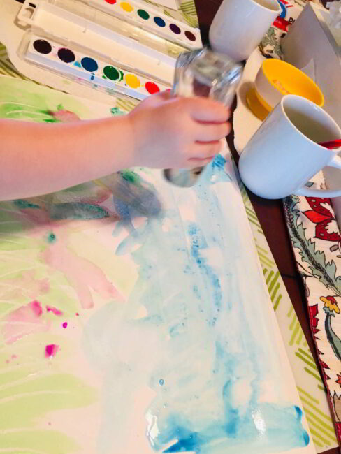 Watercolor techniques for kids -- add salt as texture