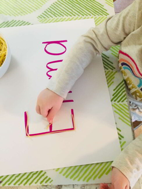 Try this hands on letter learning spaghetti letters activity. It's simple to set up and doubles as a fun sensory activity!