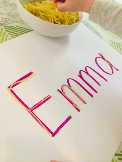 Try this hands on spaghetti activity to learn to write names. It's simple to set up and doubles as a fun sensory activity!
