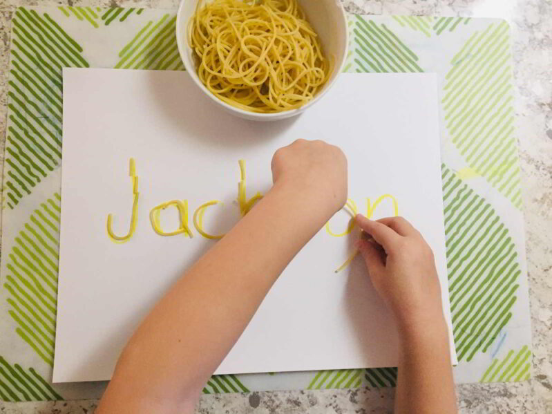 Try this hands on name learning activity with spaghetti activity. It's simple to set up and doubles as a fun sensory activity!