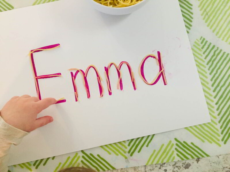 Learn to write your name with a simple spaghetti letter learning activity.