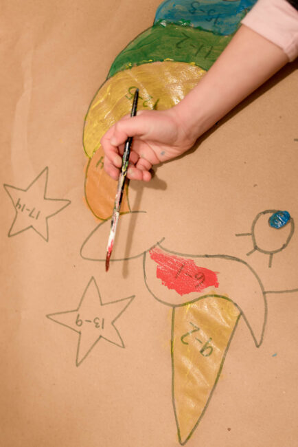 We loved this super simple DIY paint-by-math art activity for kids!