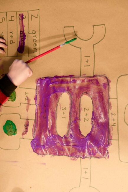 We learned about math with a creative GIANT painting activity for kids!