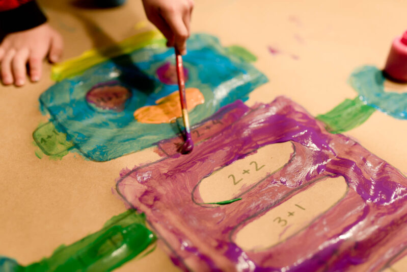 This creative paint-by-math painting activity was a great way to work on math skills!