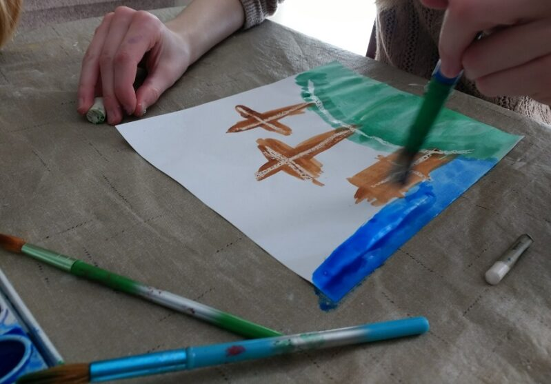 We love this simple watercolor resist art activity for Easter