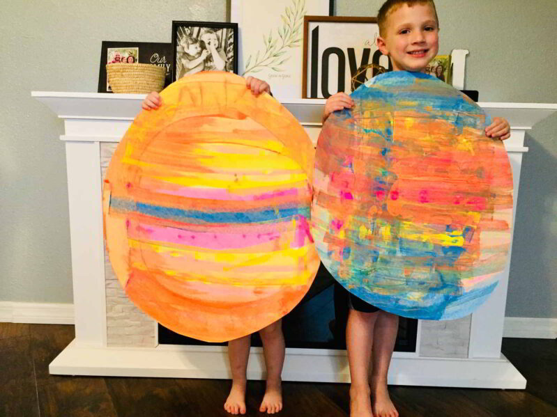 Jumbo paper Easter Egg Art project to try out credit card scrape painting.