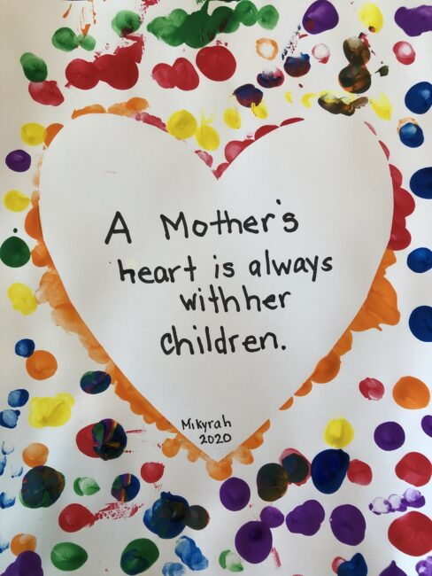 A mother's heart is always with her children quote to add to a fingerprint heart card the kids make for Mother's Day.