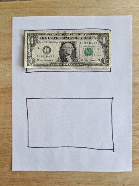 Coin Collection Sheet with the goal to Make a Dollar for the Money Scavenger Hunt