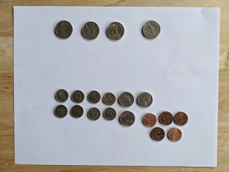 Choose what to focus on for your money scavenger hunt to learn to count money
