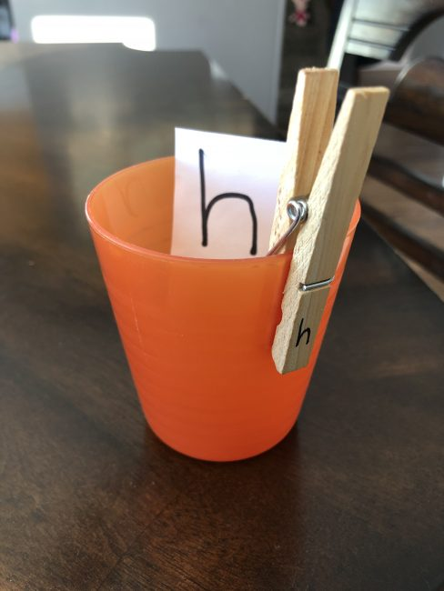 Letter match with clothespins