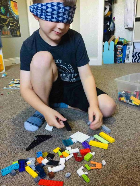 Try this fun LEGO building activity and build blindfolded!