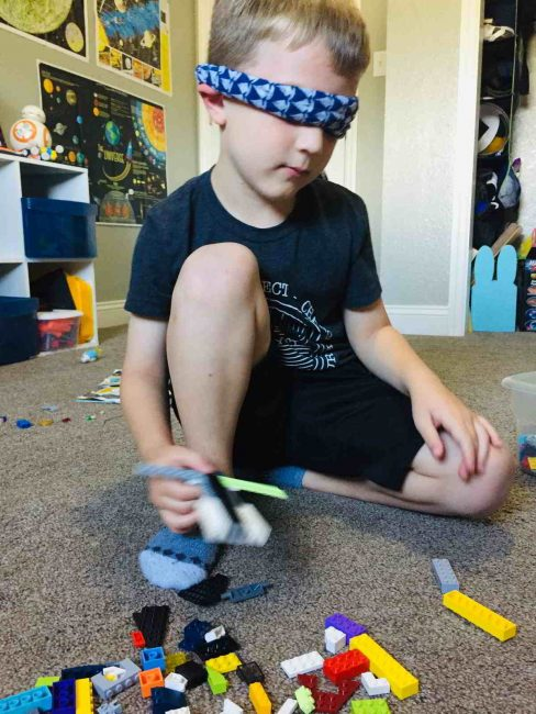 Blindfold activity to build with LEGO