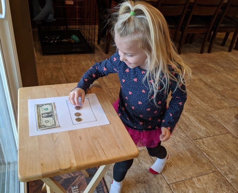 Find the hidden coins in this money scavenger hunt to learn to count money to equal a dollar