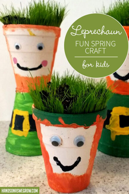 St. Patrick's Day leprechaun hair planter craft for the kids -- mixes painting with planting and added cutting practice!