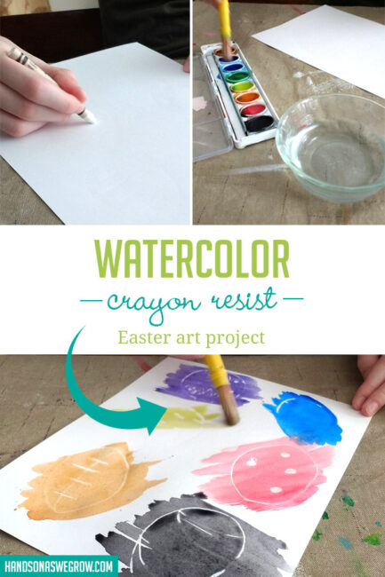 "DIY bunnies, crosses and eggs with a pretty watercolor crayon resist art project to uncover ""hidden"" Easter pictures!"
