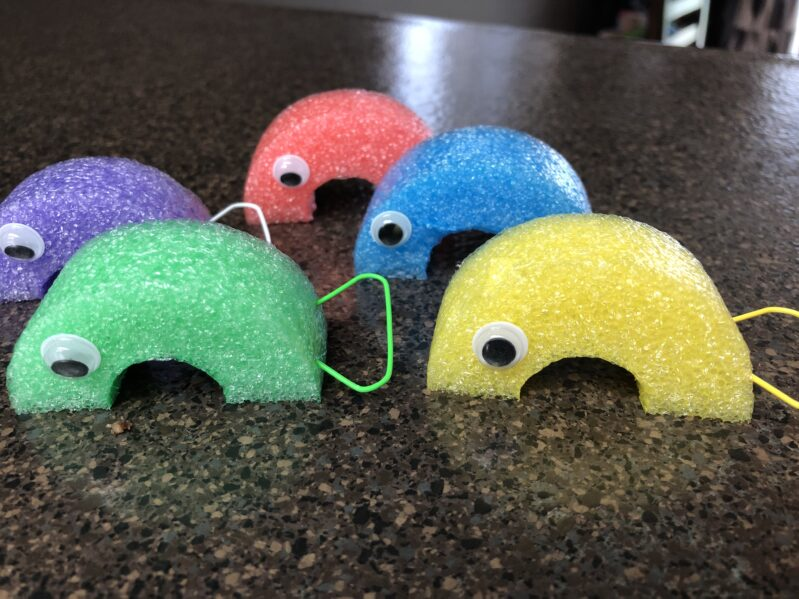 Pool noodle fishes with paper clip tails for fishing