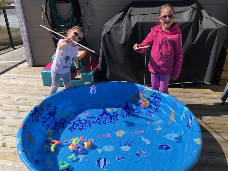 Easy fishing activity with recycled pool noodles.