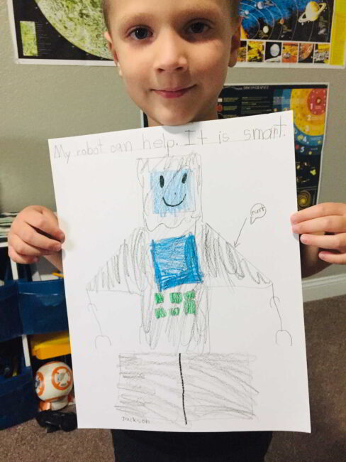 Add writing to extend your robot tracing art project!