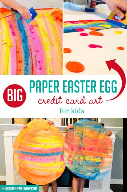 This super simple paper Easter egg art idea, created and shared by Julie, makes a big impact! Combine a jumbo Easter craft and credit card art for this no-fail egg project.