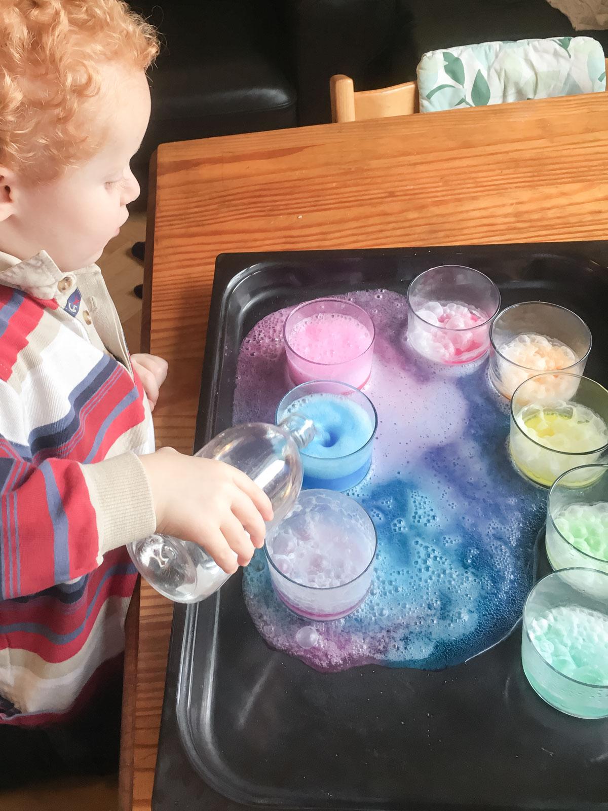Easy preschooler colors experiment with a magical twist