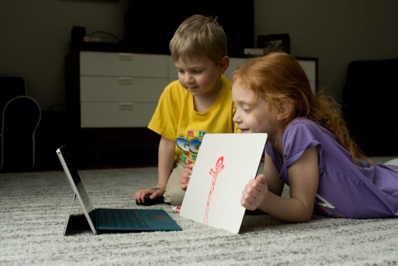 play pictionary over facetime or skype - a fun game for kids to play when you can't get together in person