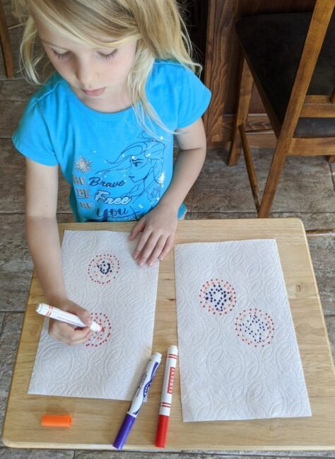 Practicing Paper Towel Pattern Art fine motor for kids