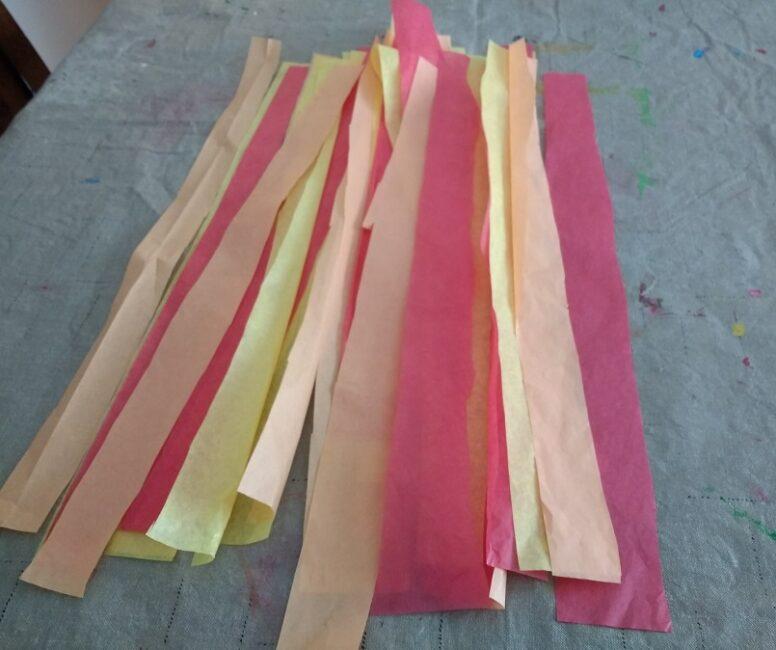 Tissue Paper Strips for Easy Fall Leaf Suncatcher Craft for Kids