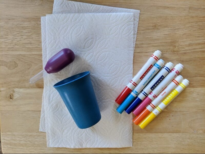Supplies needed for no prep paper towel tie dye art activity with kids.