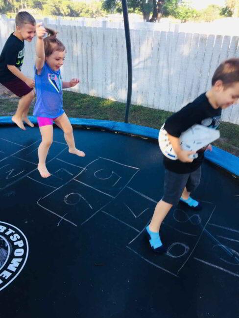 Trampoline Hopscotch Game for Kids