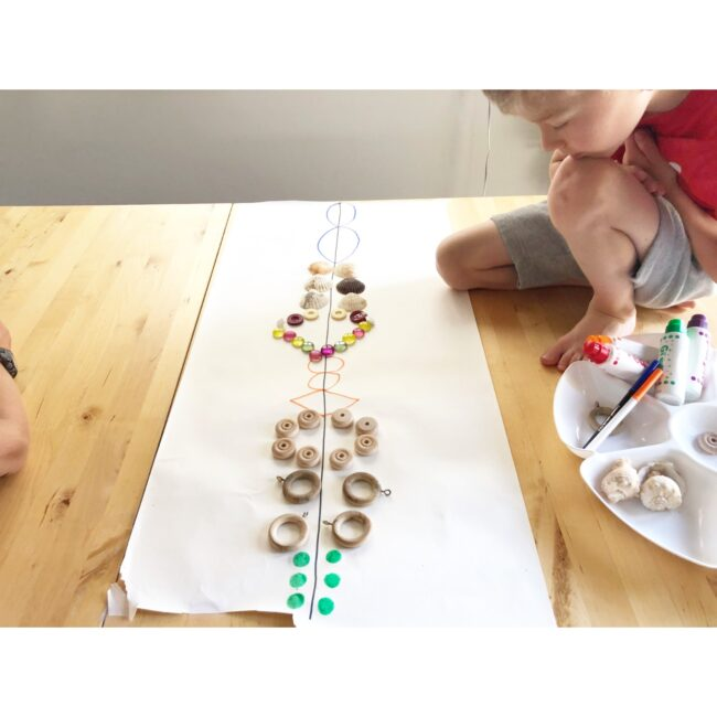 Completed symmetry activity using loose parts