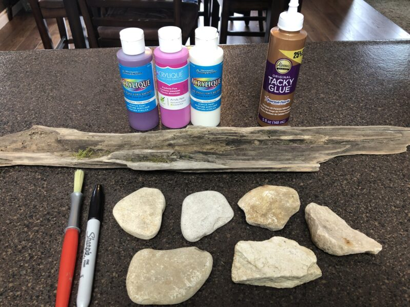 Supplies needed to create rock name keepsake craft.