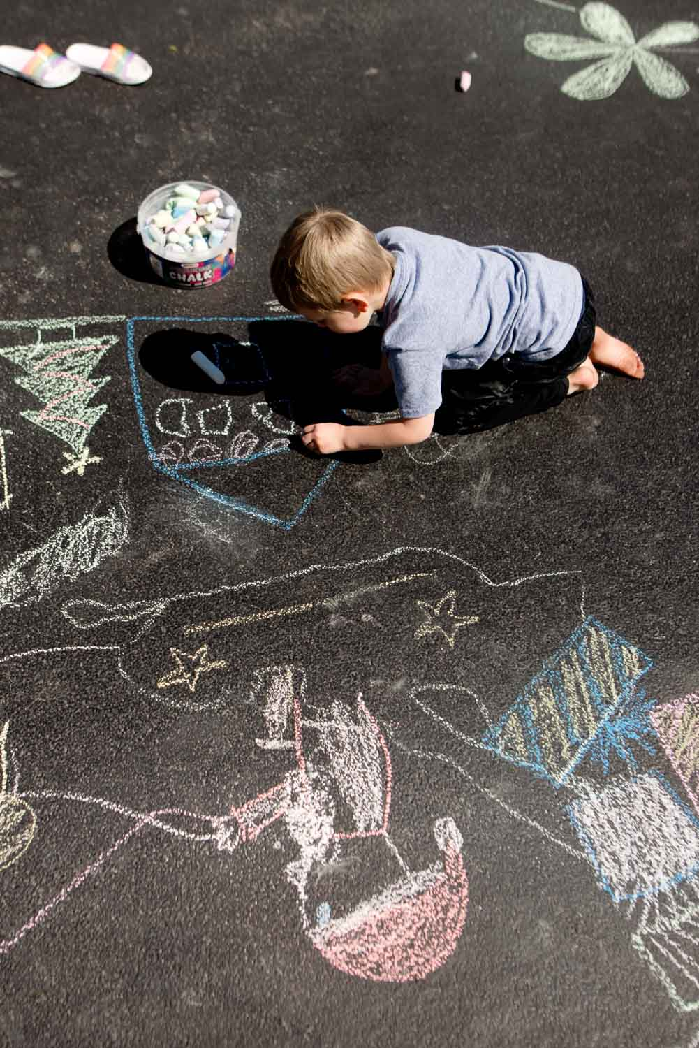 Shadow tracing for kids turns into big art project